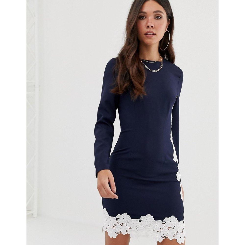 Robe courte manches longues à bordure en dentelle - Bleu marine - Missguided - Modalova