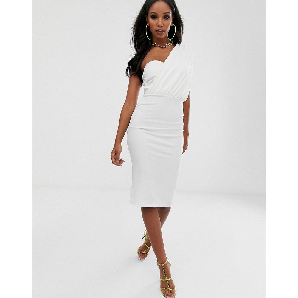 Robe mi-longue drapée asymétrique - Blanc - Missguided - Modalova