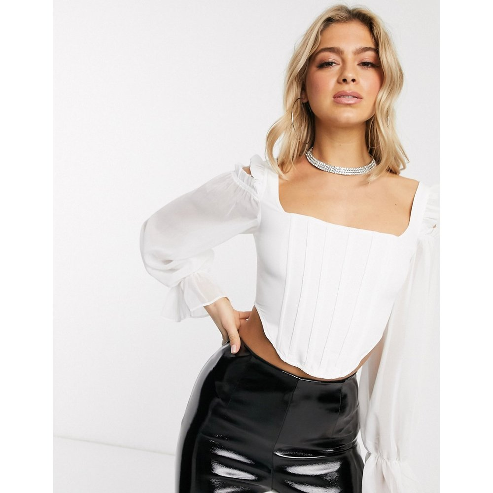 Top style corset à manches en mousseline - Missguided - Modalova
