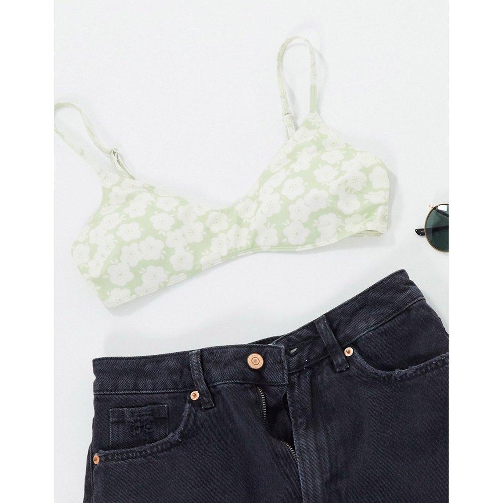 Azami - Haut de bikini à imprimé floral rétro en polyester recyclé - Monki - Modalova