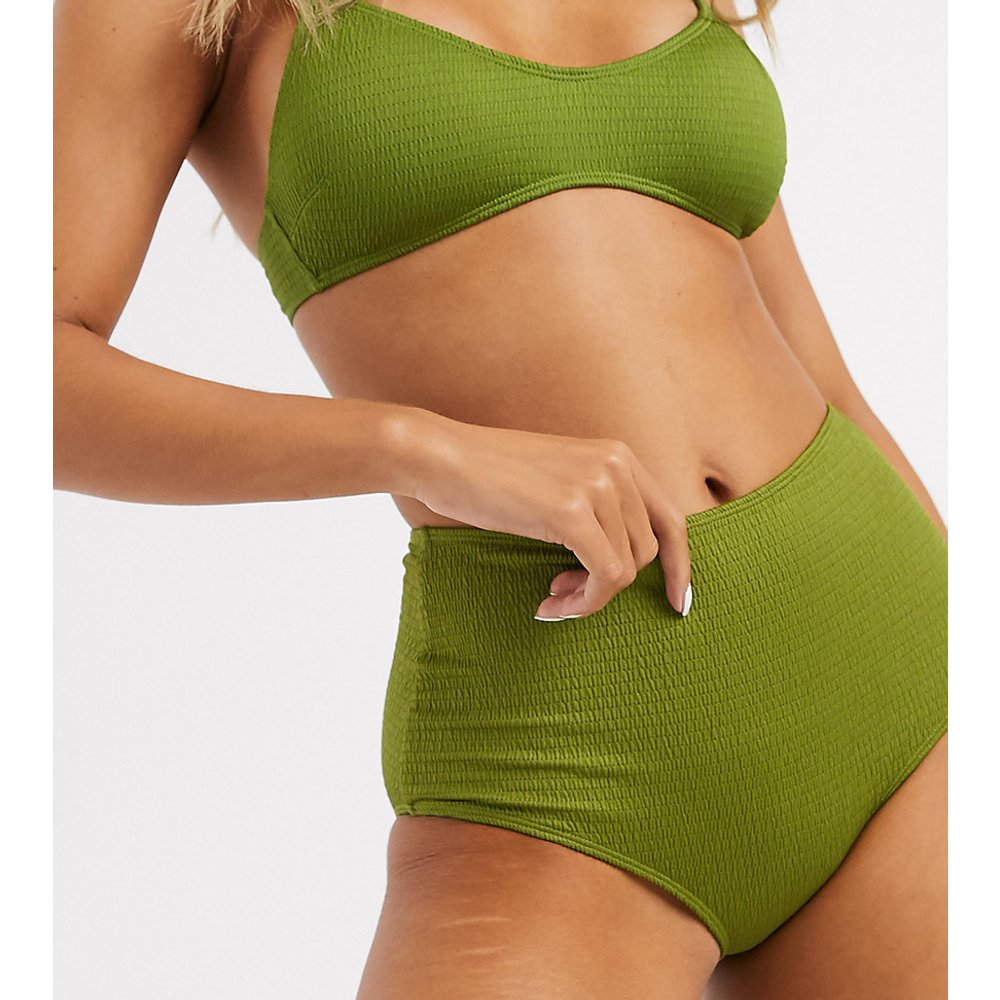 Bas de bikini taille haute texturé - Kaki - Monki - Modalova