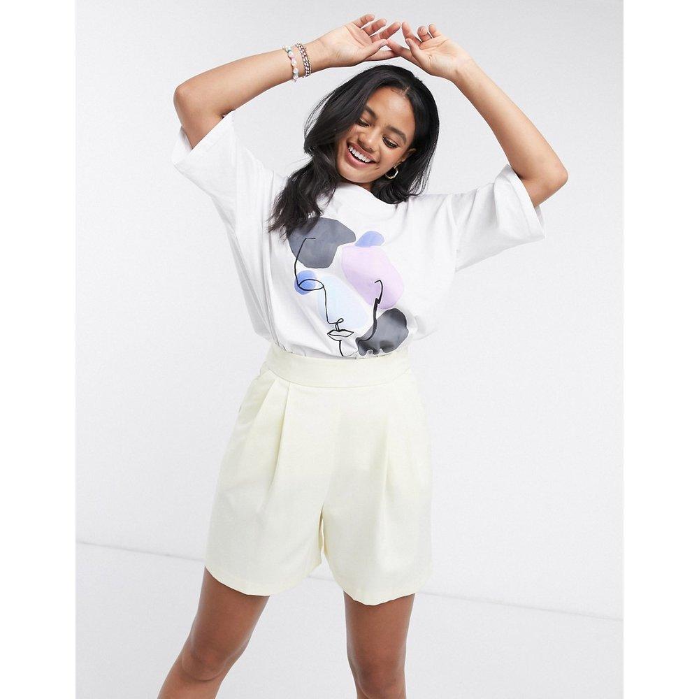 Cissi - T-shirt motif visage en coton biologique - Monki - Modalova