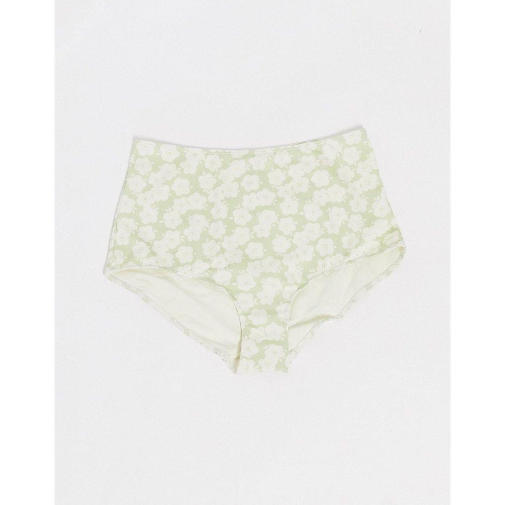 Nilla - Bas de bikini taille haute en polyester recyclé à fleurs rétro - Monki - Modalova
