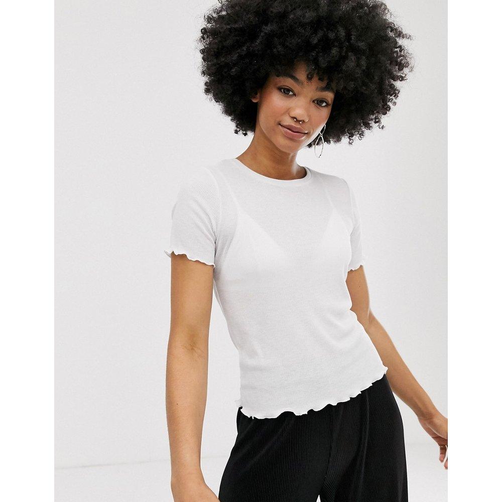 T-shirt côtelé avec ourlet ondulé - Monki - Modalova