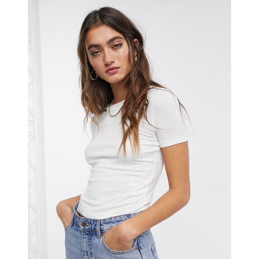 T-shirt crop top côtelé - Monki - Modalova