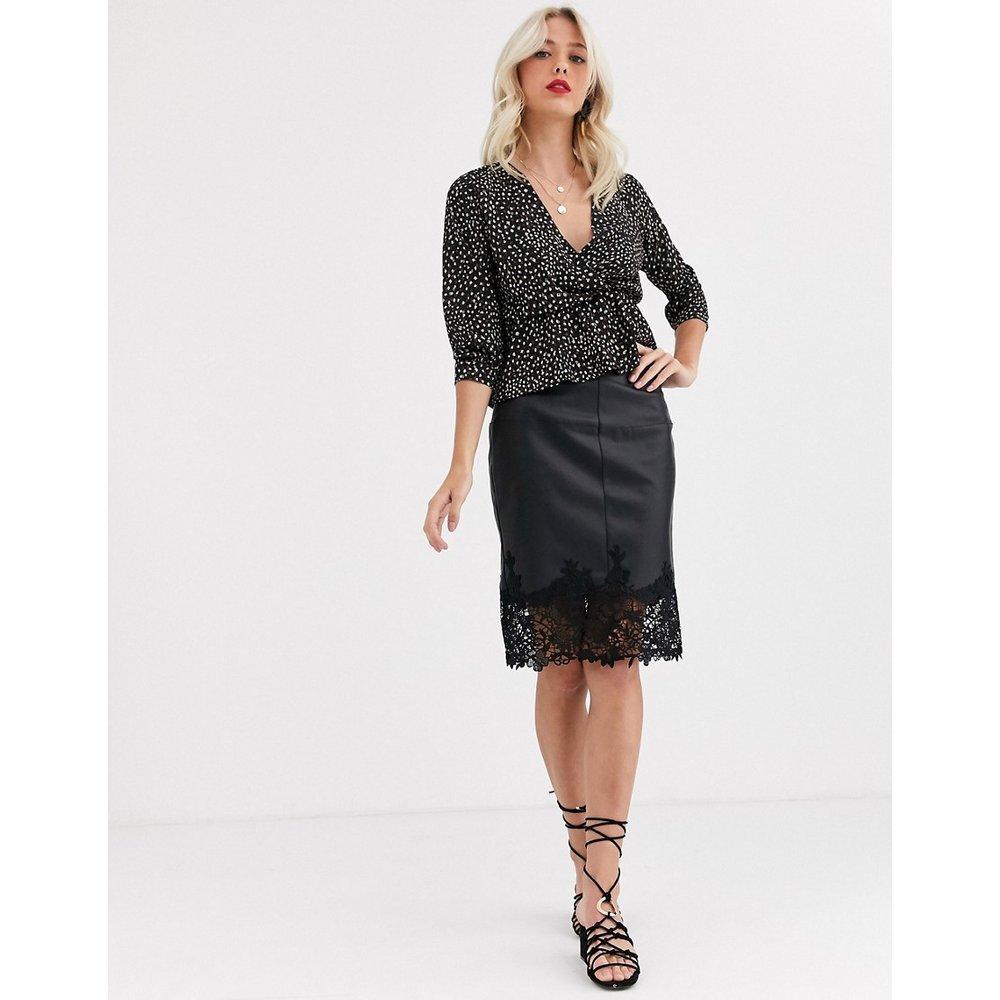 Mini-jupe en PU bordée de dentelle - Morgan - Modalova