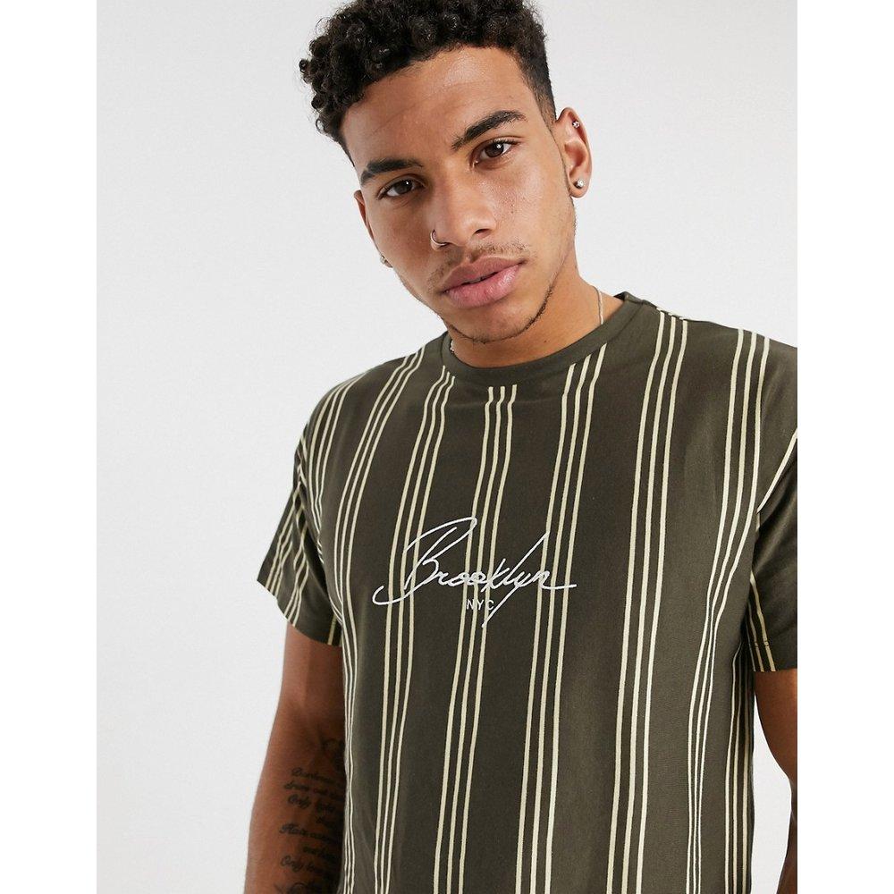 Brooklyn - T-shirt brodé à rayures verticales - Rouille - New Look - Modalova