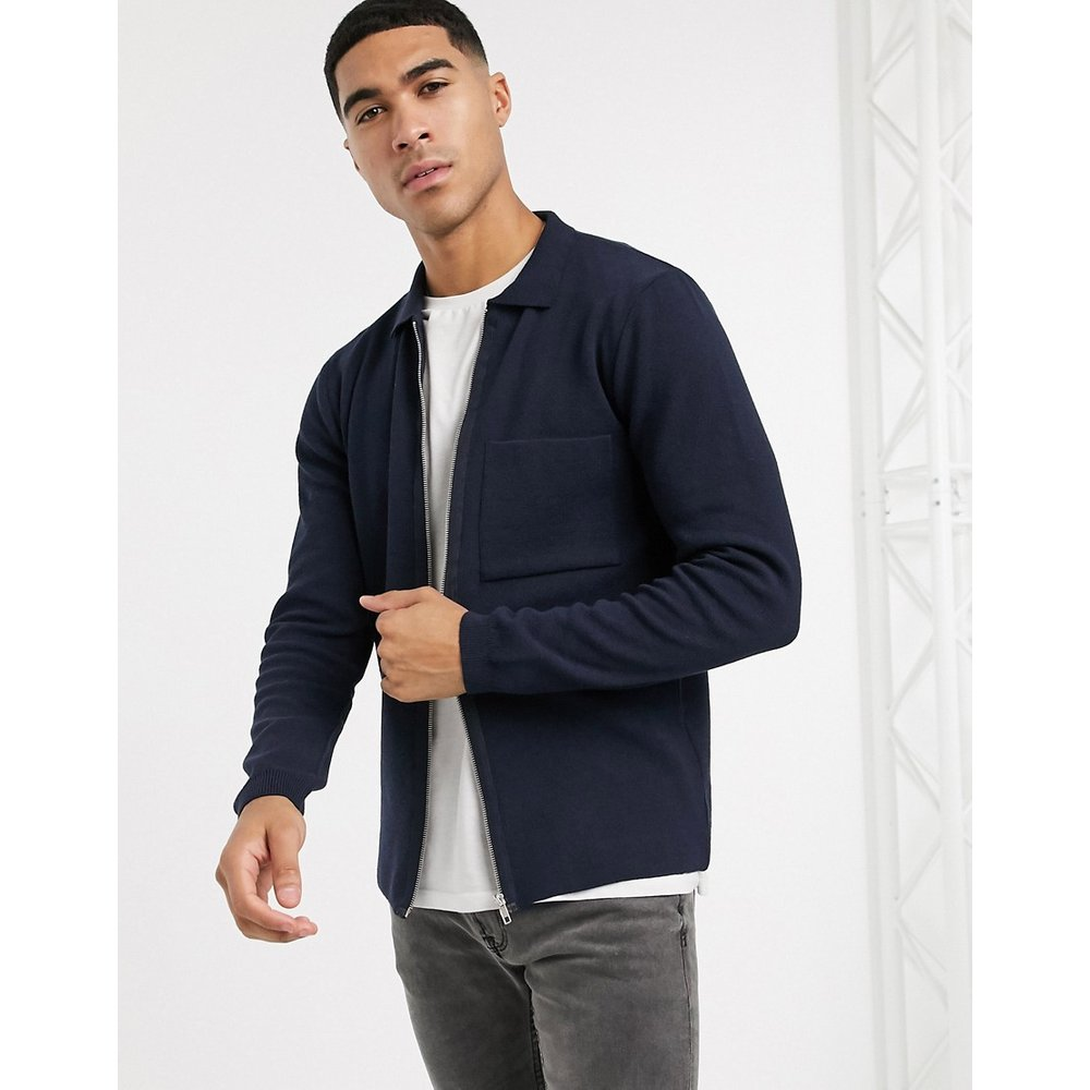 Cardigan zippé avec col - Bleu marine - New Look - Modalova