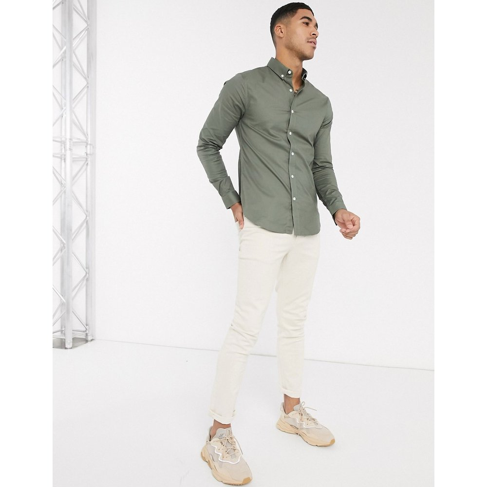 Chemise Oxford moulante - Kaki - New Look - Modalova