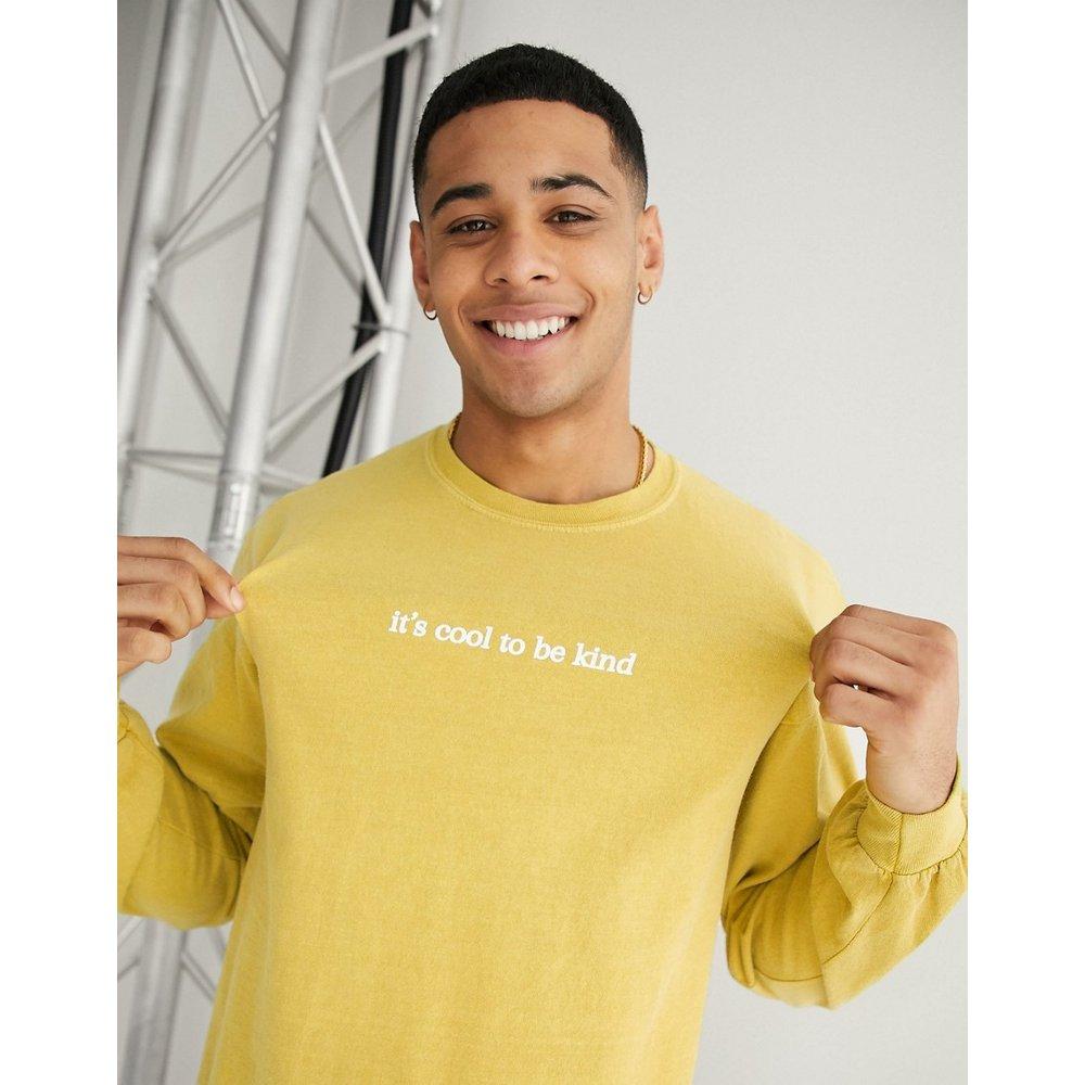 Cool kind - T-shirt à manches longues avec inscription - moutarde - New Look - Modalova