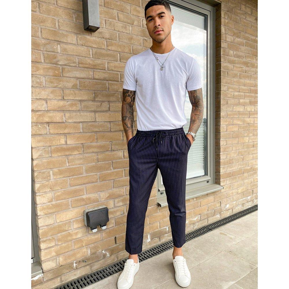 Joggers habillé à rayures fines - Bleu marine - New Look - Modalova
