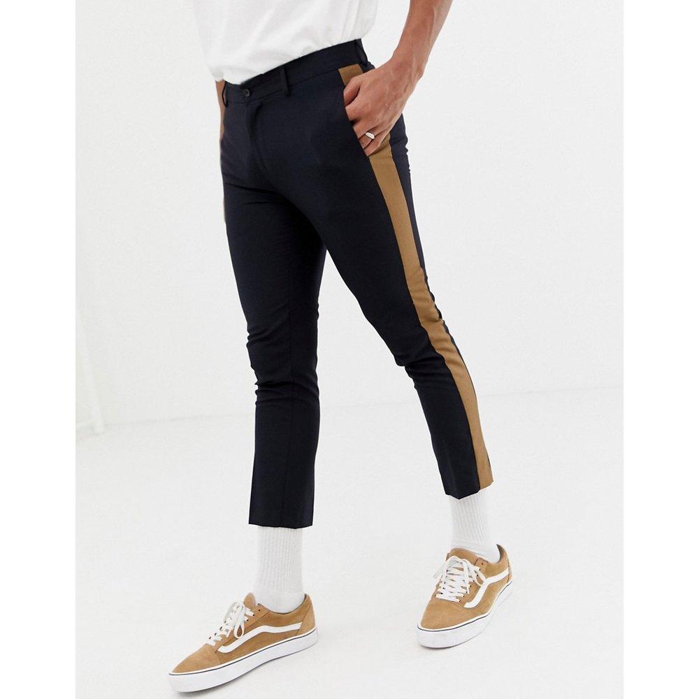 Pantalon habillé avec rayure sur les côtés - Bleu marine - New Look - Modalova