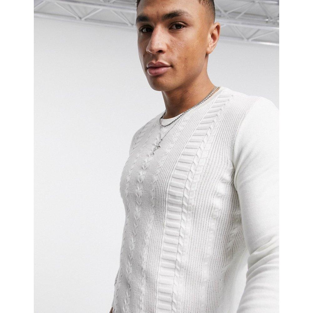 Pull moulant manches longues en maille torsadée en coton - New Look - Modalova