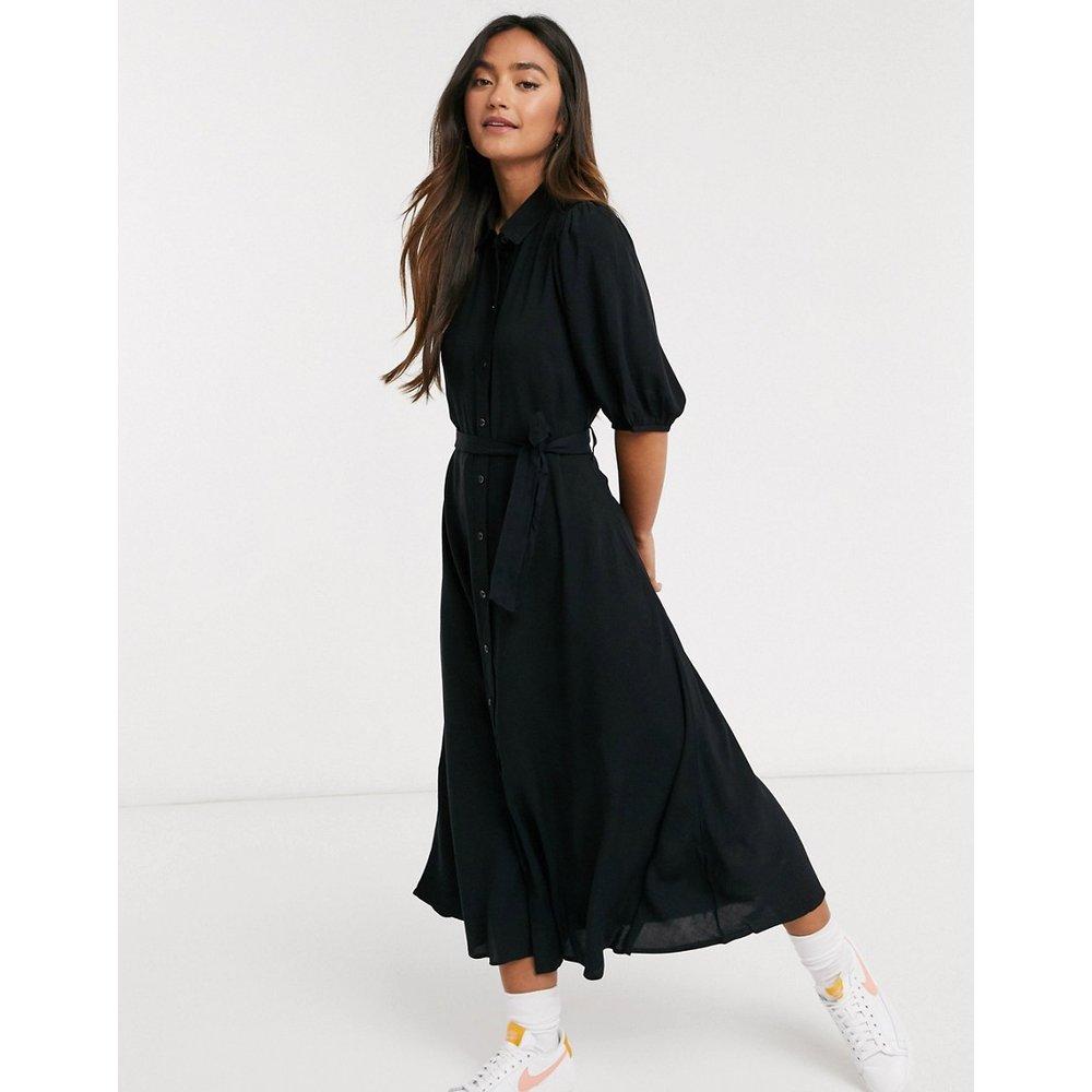 Robe chemise mi-longue à manches bouffantes - New Look - Modalova