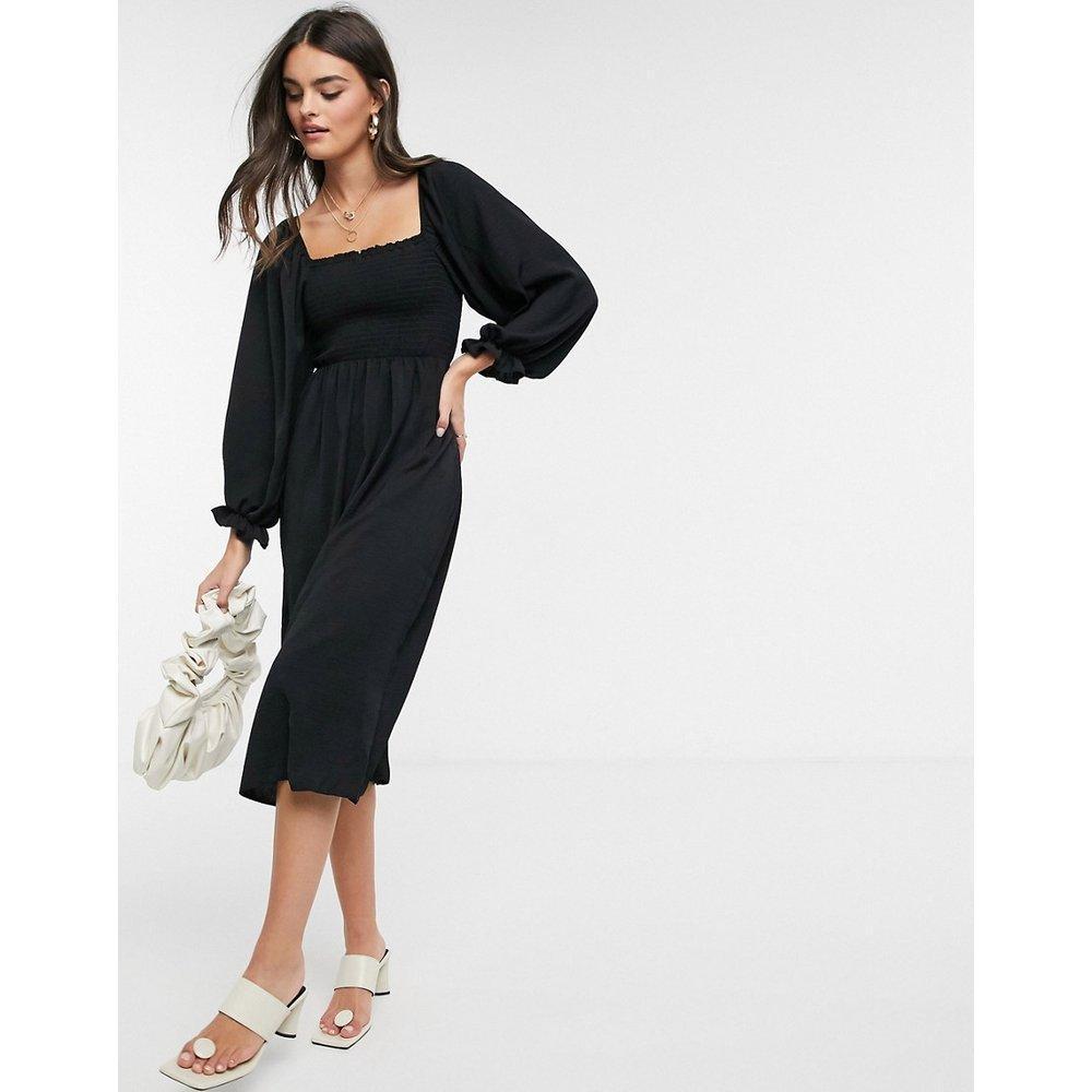Robe mi-longue à encolure carrée froncée - New Look - Modalova