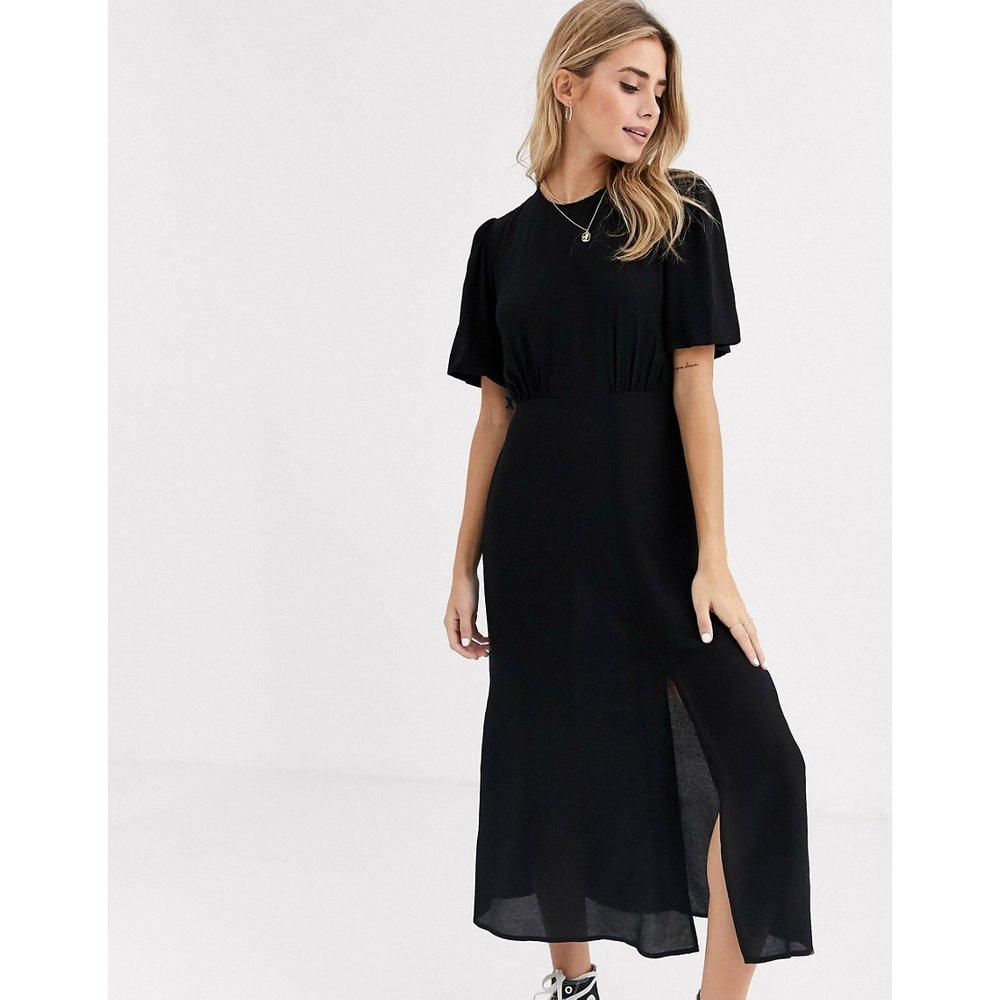 Robe mi-longue fendue unie - New Look - Modalova