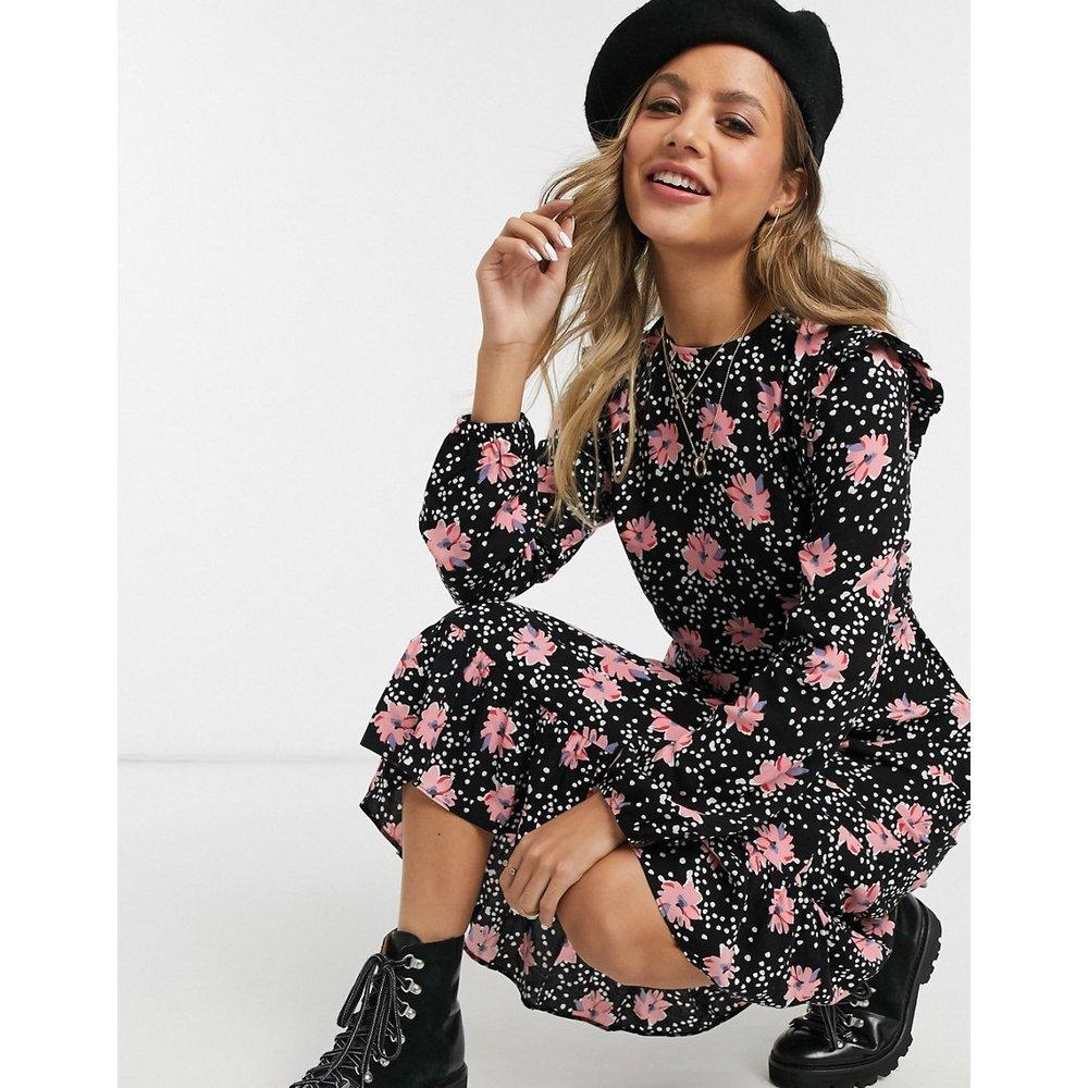 Robe mi-longue volantée à fleurs - New Look - Modalova
