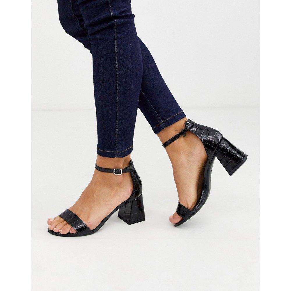 Sandales basses à talons carrés - croco - New Look - Modalova