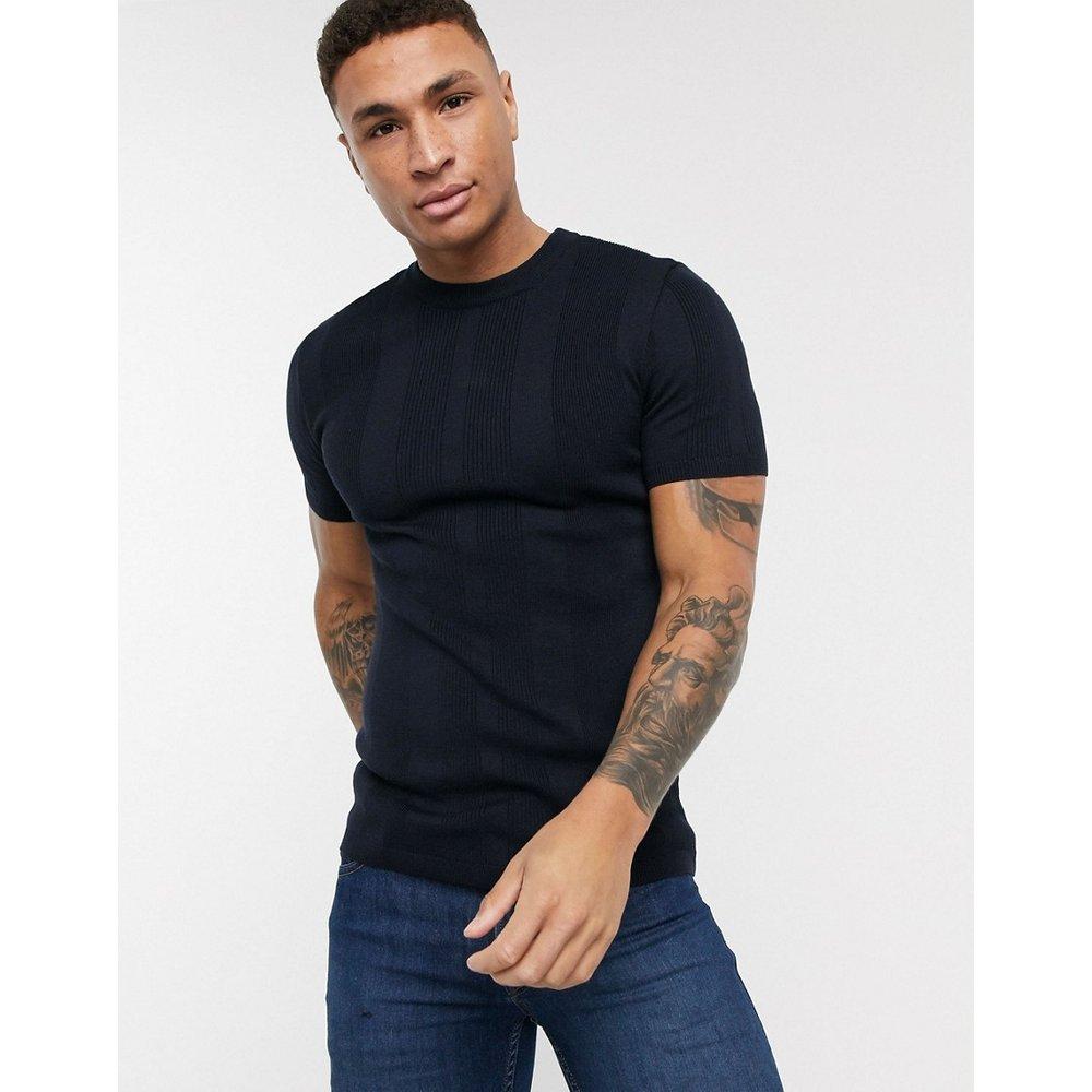 T-shirt moulant en maille - Bleu marine - New Look - Modalova