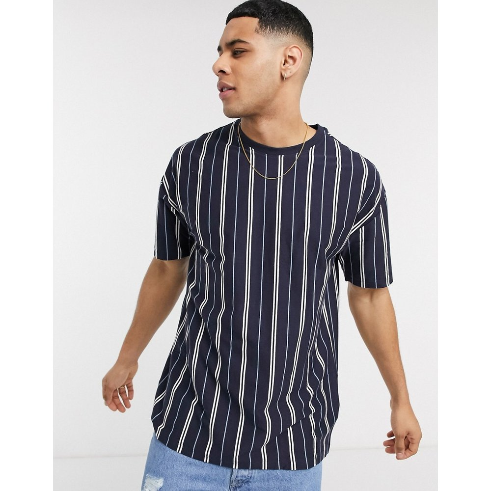 T-shirt oversize à rayures verticales - Bleu marine - New Look - Modalova