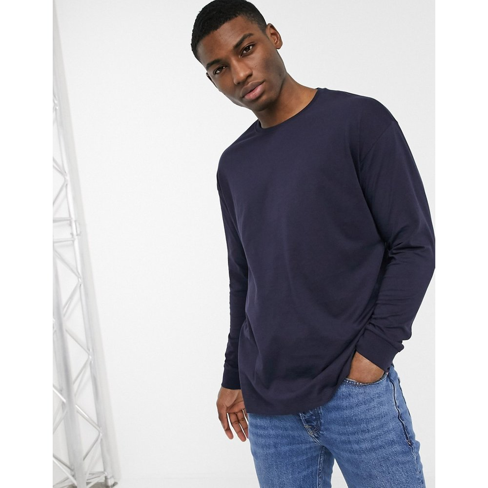 T-shirt ras de cou manches longues - Bleu marine - New Look - Modalova