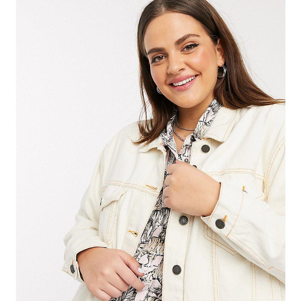 Veste en jean à surpiqûres contrastantes - Écru - Noisy May Curve - Modalova