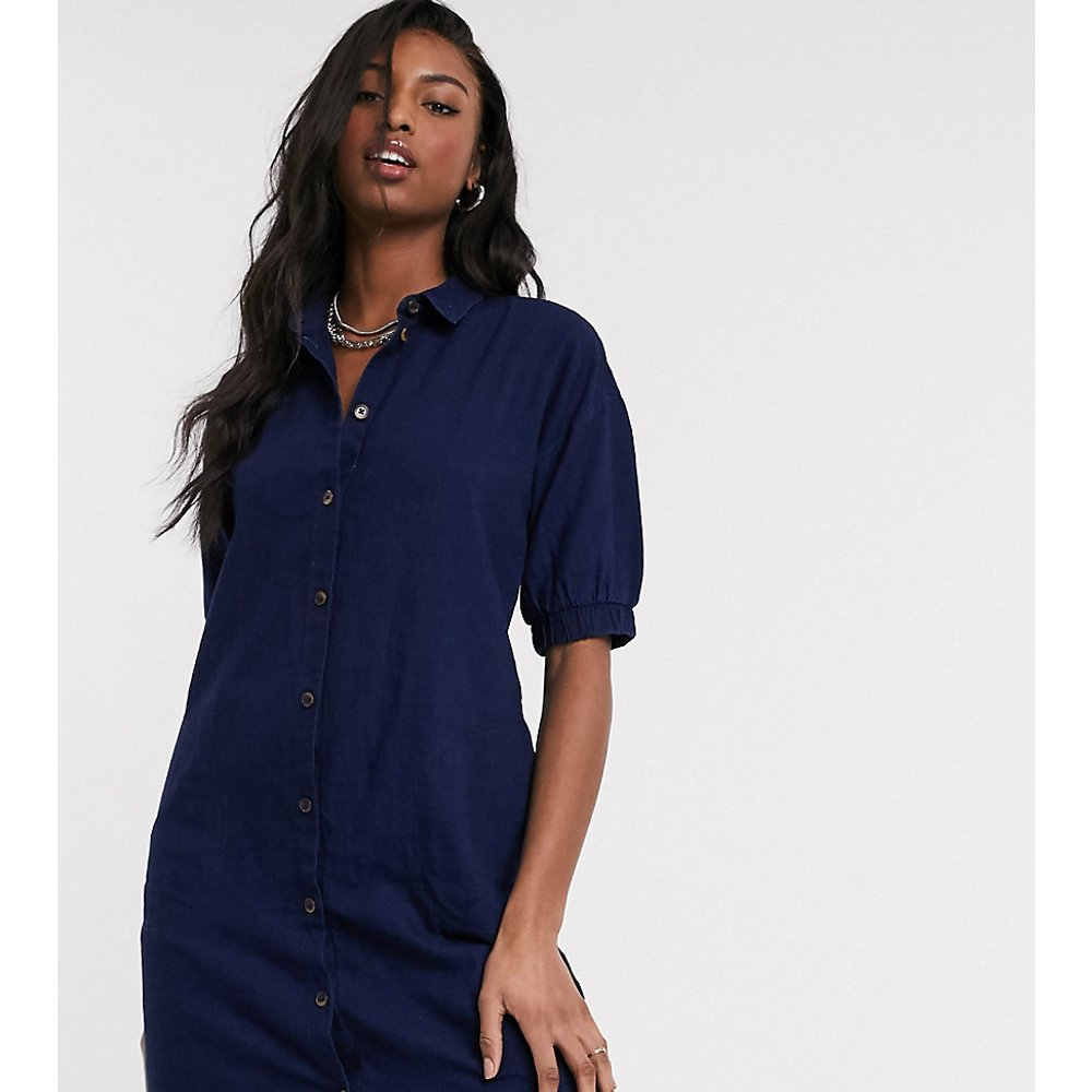 Robe chemise en jean à manches bouffantes - Délavage indigo - Noisy May Tall - Modalova