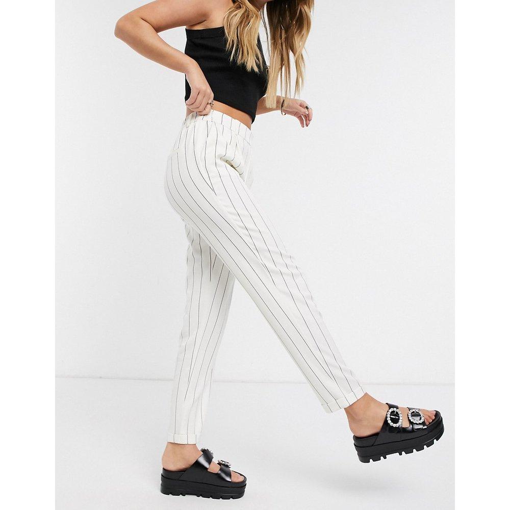 Pantalon cigarette avec taille élastiquée - Rayures blanches - Only - Modalova
