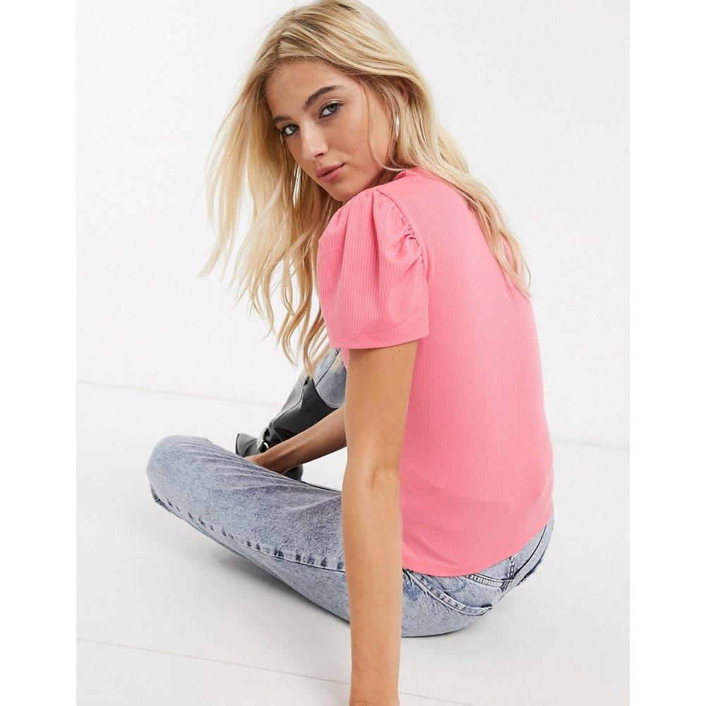 T-shirt côtelé avec manches bouffantes - Rose - Only - Modalova