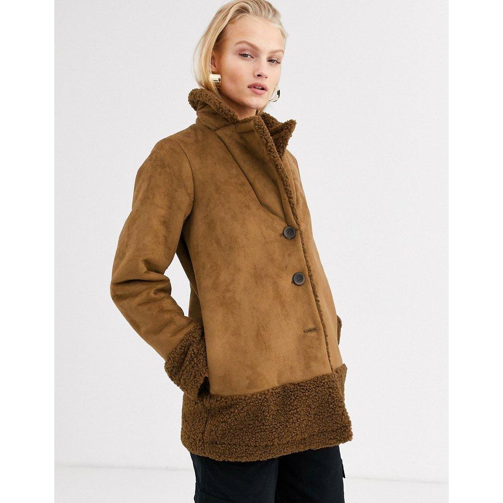 Veste en imitation peau de mouton avec bordures - Marron - Only - Modalova