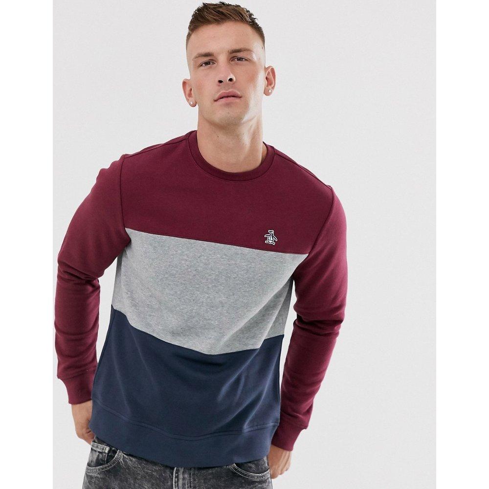 Sweat-shirt ras de cou color block effet coupé-cousu avec logo emblématique - Bordeaux/marine - Original Penguin - Modalova