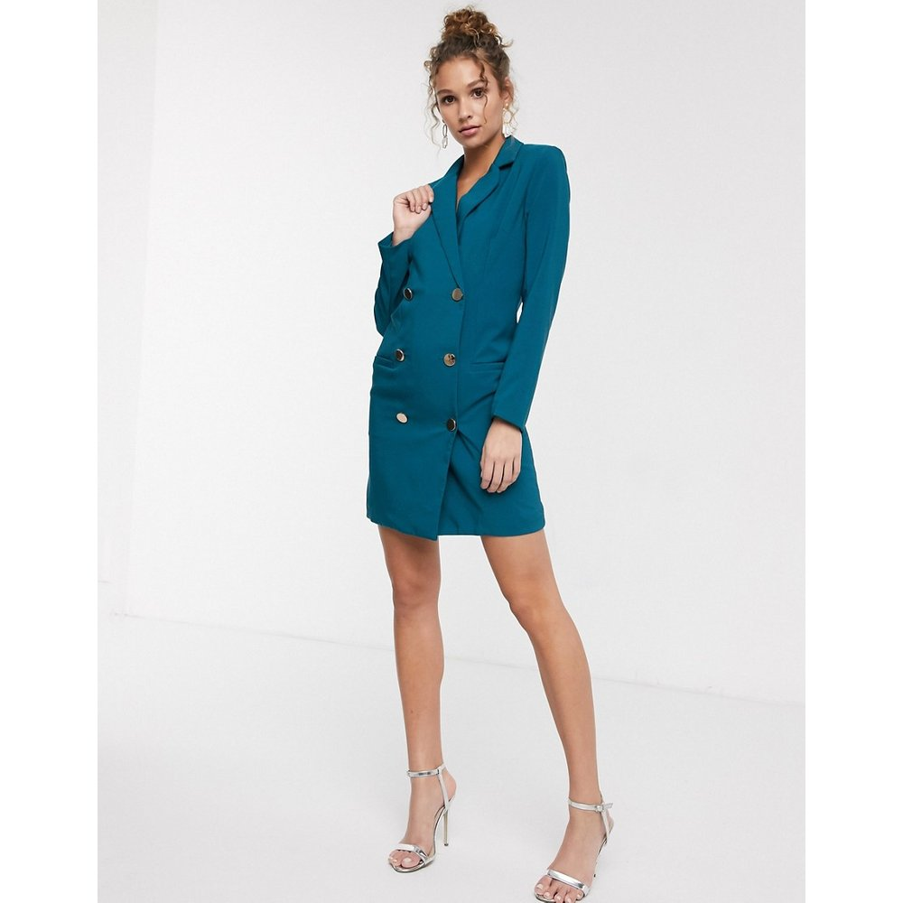 Robe courte style blazer avec bouton doré - sarcelle - Paper Dolls - Modalova