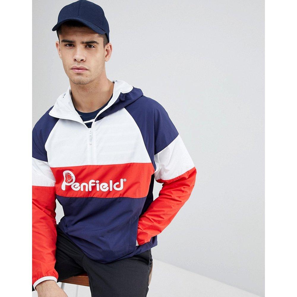 Veste à capuche unie avec logo sur le devant - Bleu marine/blanc/rouge - Penfield - Modalova