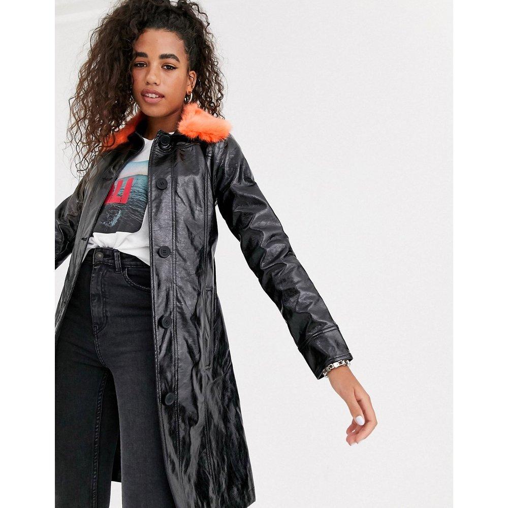 Trench-coat en imitation cuir avec col en fausse fourrure - Pepe Jeans - Modalova