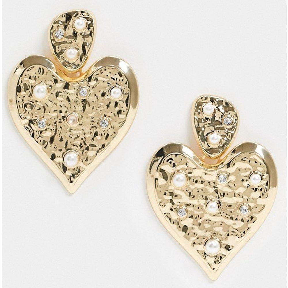 Boucles d'oreilles cœur effet martelé avec détail perle - Pieces - Modalova
