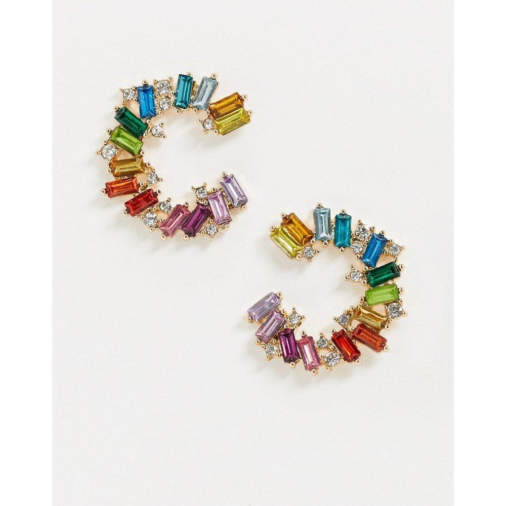 Boucles d'oreilles tendance à pierres multicolores - Pieces - Modalova