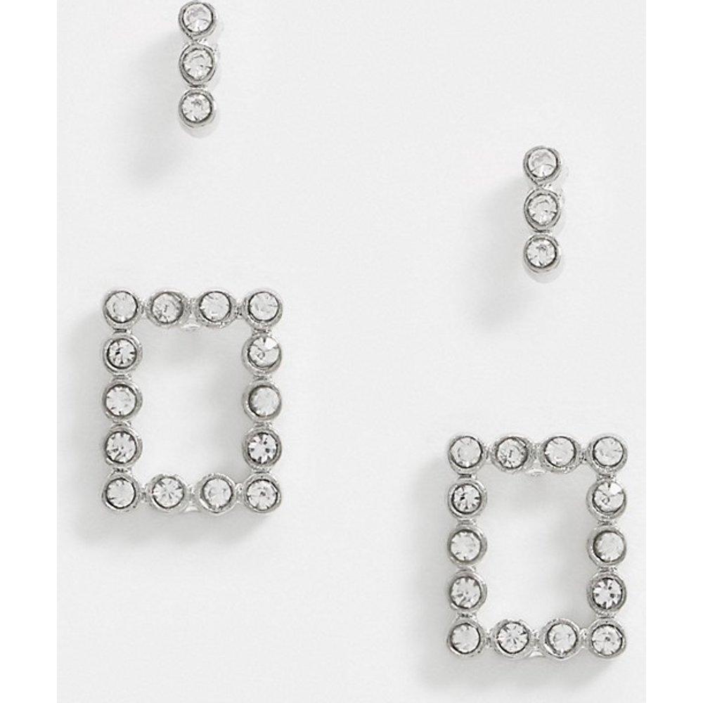 Lot de 2 paires de boucles d'oreilles ornées de strass - Pieces - Modalova