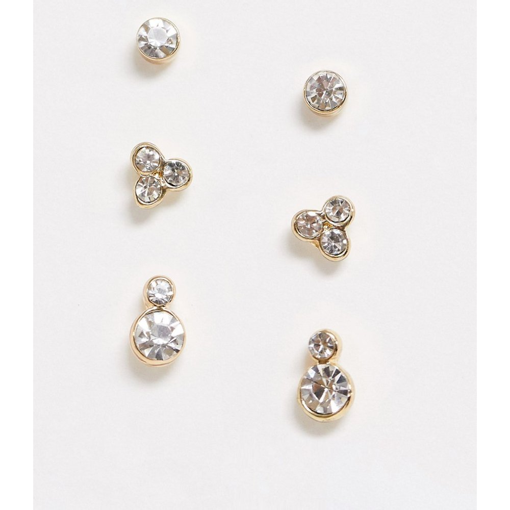 Lot de 3 paires de boucles d'oreilles à strass - Pieces - Modalova