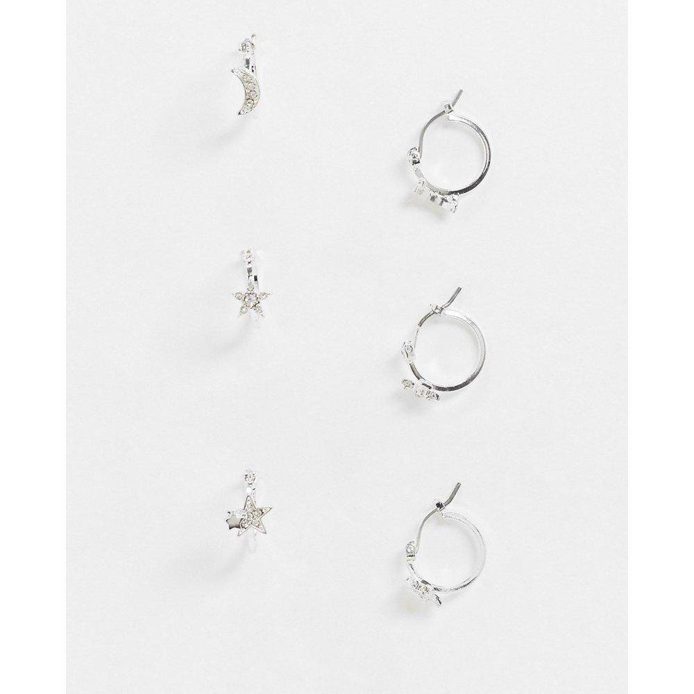 Lot de 3 paires de boucles d'oreilles avec breloques étoiles et lunes - Pieces - Modalova