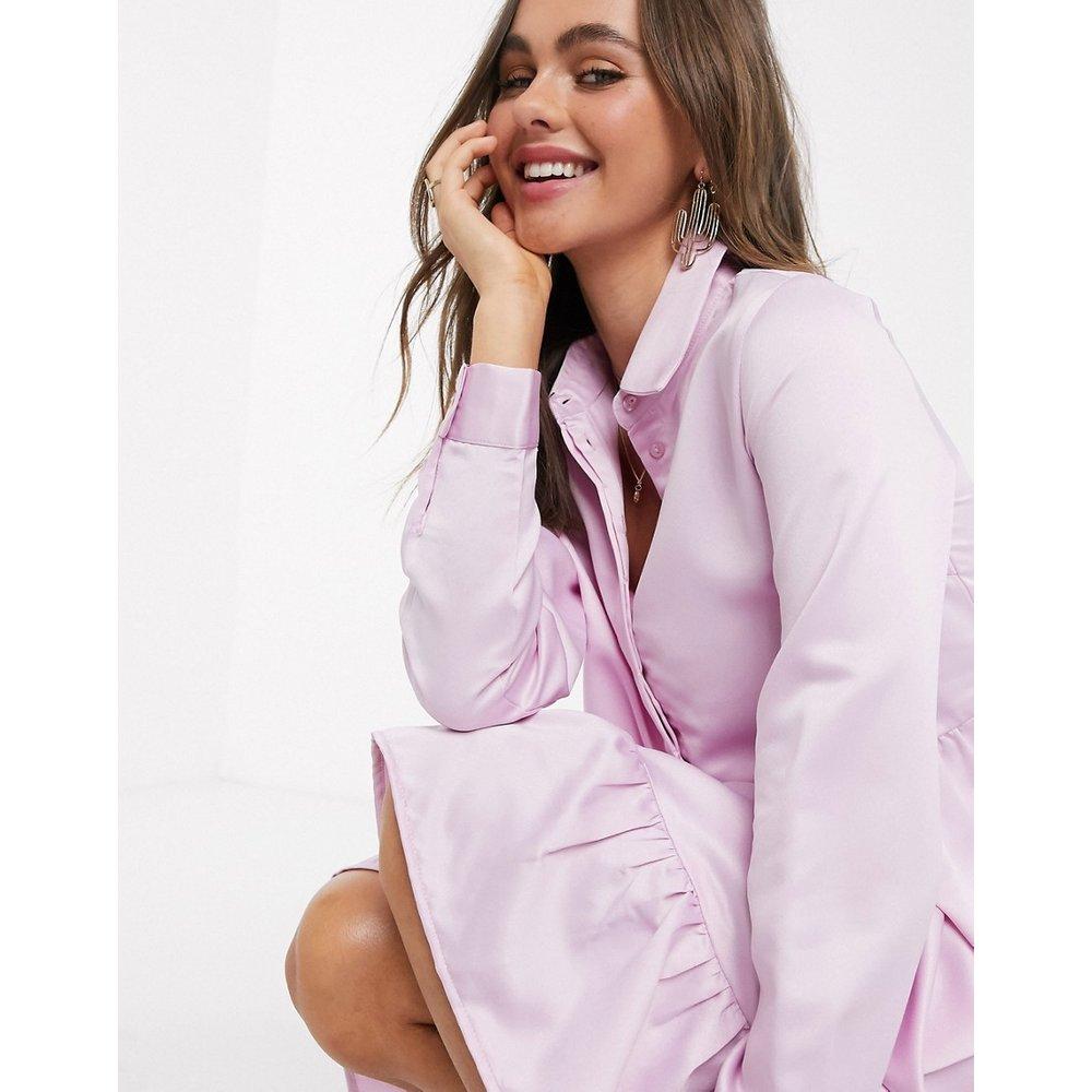 Tia - Robe chemise à volants - Lilas - Pieces - Modalova