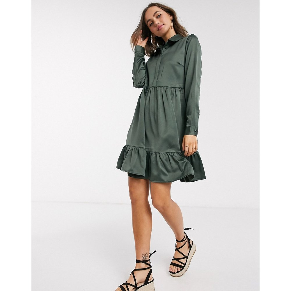 Tia - Robe chemise à volants - Vert foncé - Pieces - Modalova