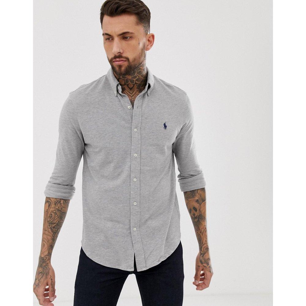 Chemise ajustée boutonnée en piqué avec logo joueur de polo - chiné - Polo Ralph Lauren - Modalova