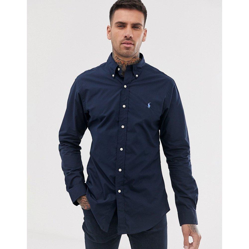Chemise ajustée en popeline à logo joueur de polo avec col boutonné - bleu marine - Polo Ralph Lauren - Modalova