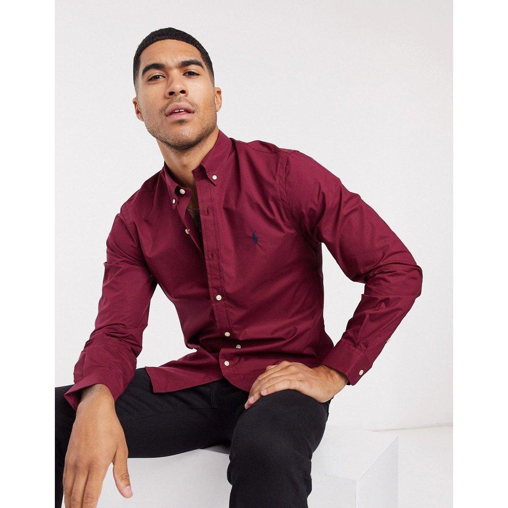 Chemise boutonnée en popeline coupe slim avec logo joueur de polo - Bordeaux - Polo Ralph Lauren - Modalova