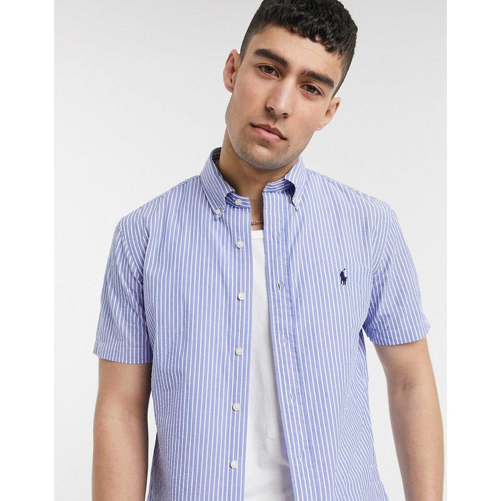 Chemise manches courtes classique boutonnée en seersucker rayé avec logo joueur de polo - Polo Ralph Lauren - Modalova