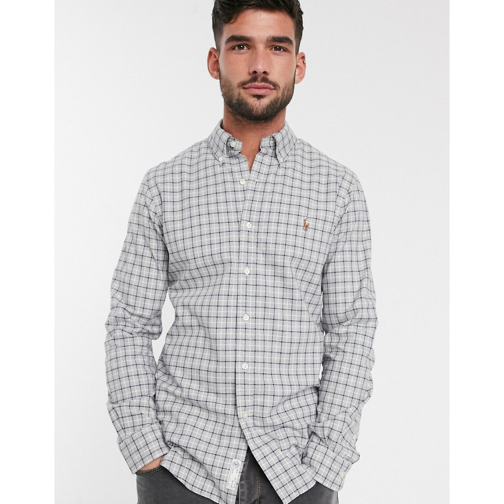 Chemise Oxford coupe slim à logo - Carreaux - Polo Ralph Lauren - Modalova