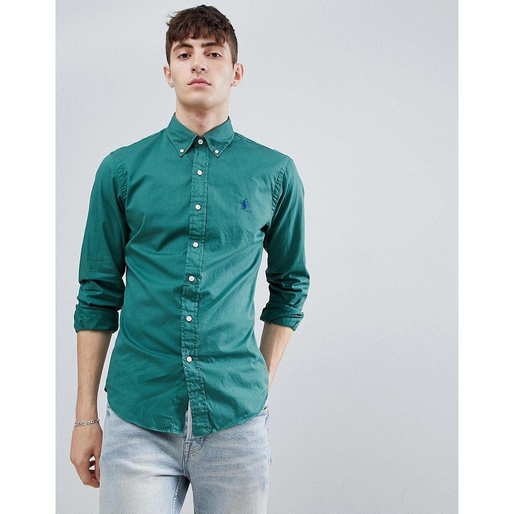 Chemise teinte ajustée et boutonnée avec logo joueur de polo - délavé - Polo Ralph Lauren - Modalova