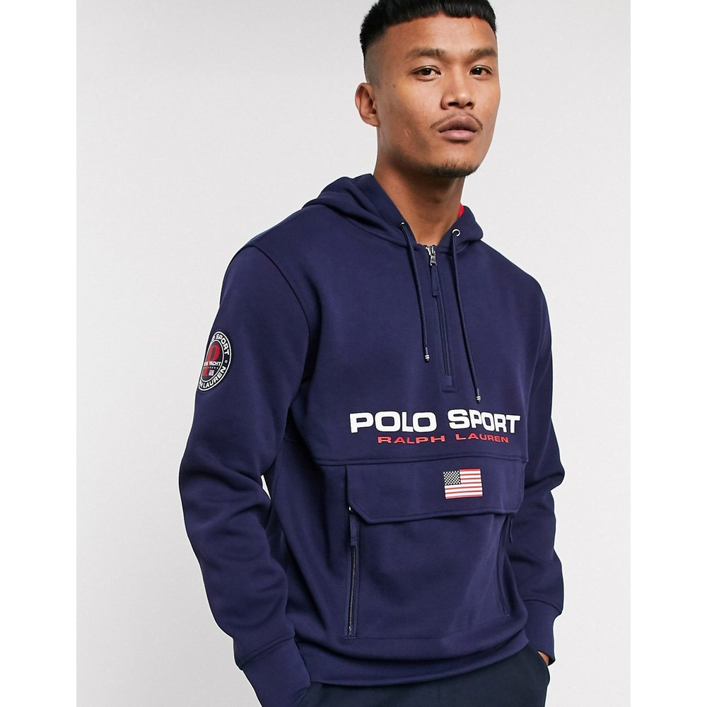 Sport Capsule - Hoodie en piqué avec logo et poche sur le devant - Bleu marine - Polo Ralph Lauren - Modalova