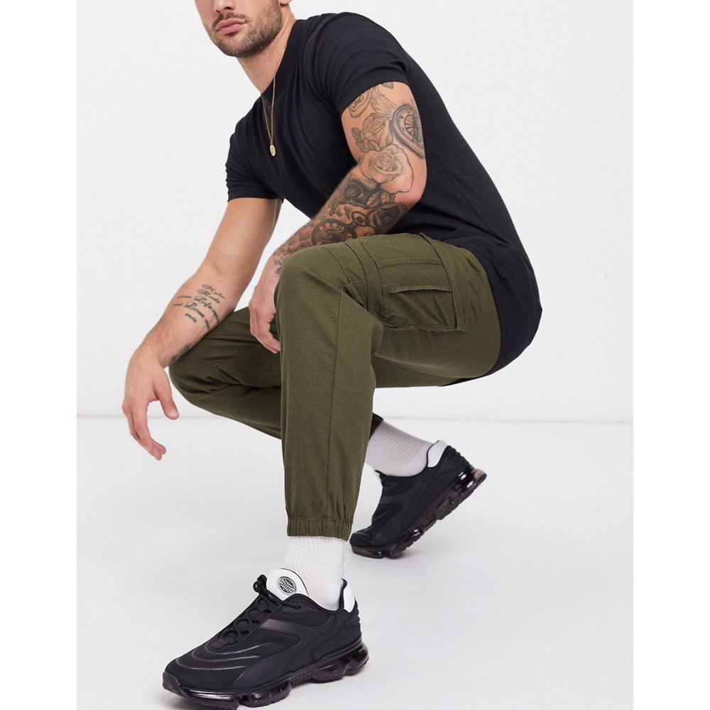 Pantalon cargo en tissu ripstop - Kaki - Pull&Bear - Modalova