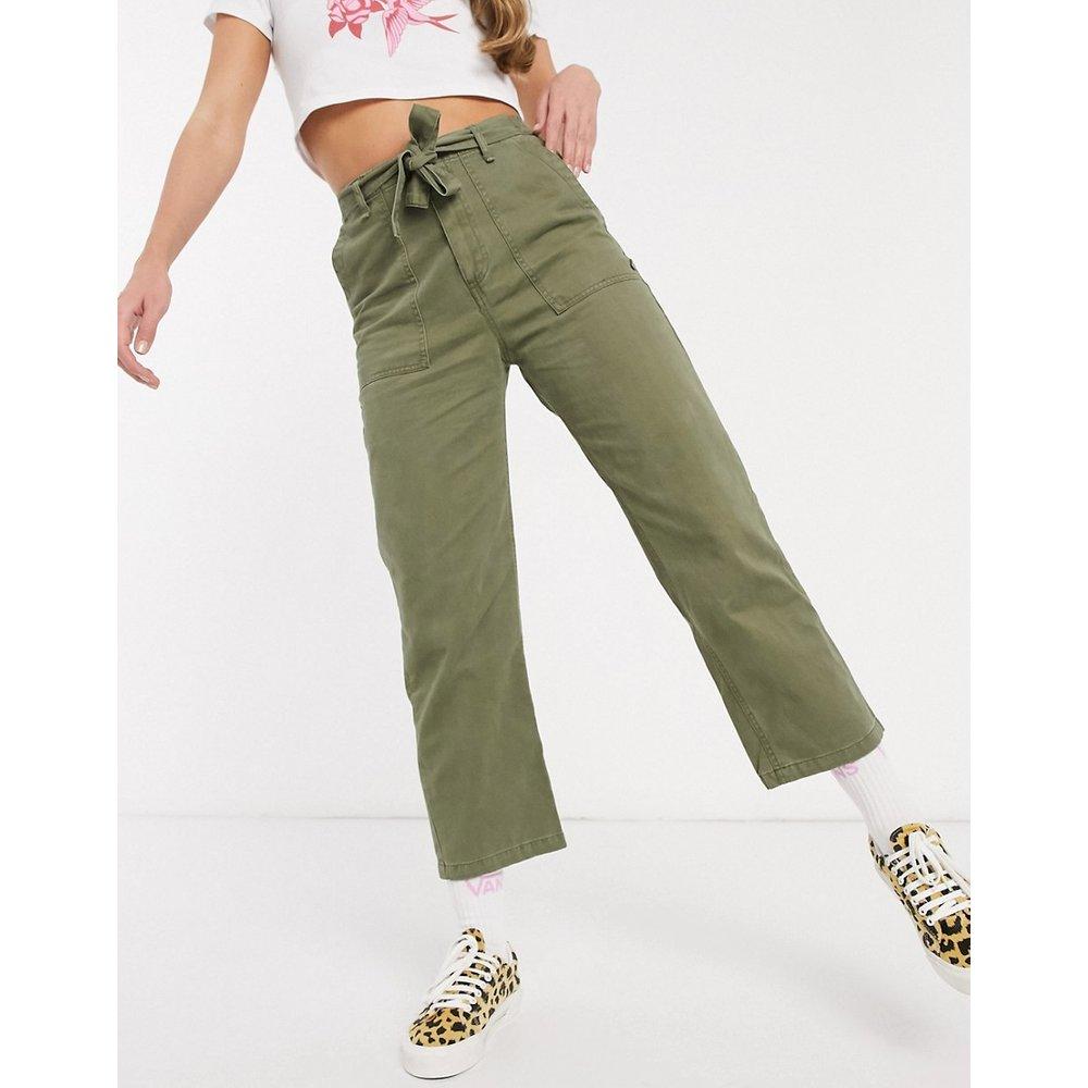Pantalon noué à la taille - Kaki - Pull&Bear - Modalova